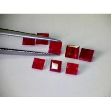 Рубин натуральный квадрат 3-4мм МИКС